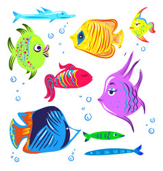 Cute fishes cartoon collection vector