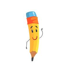 cute kindly cartoon yellow pencil character vector image vector image