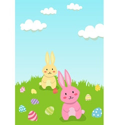 Easter Rabbit in Garden Greeting Card vector image