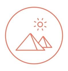 Egyptian pyramids line icon vector