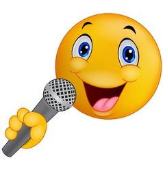 Emoticon smiley singing vector image vector image