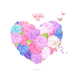 Flower heart with flying butterflies lovely vector