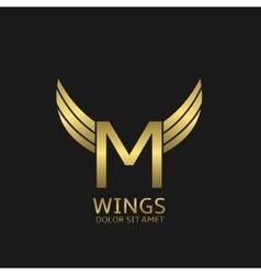 Golden m letter logo vector