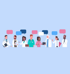 group of medical doctors standing chat bubble vector image vector image