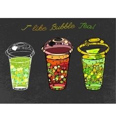 Hand drawn bubble tea vector