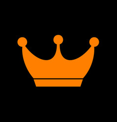 King crown sign orange icon on black background vector