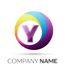 letter y logo symbol in the colorful circle on vector image vector image