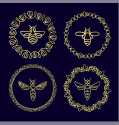 Logo with insect badge bee for corporate identity vector