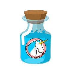 Magical potion from horn of unicorn Magic drink vector image
