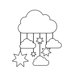Monochrome contour baby mobile with cloud and vector