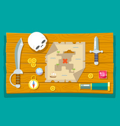 pirate treasure adventure game rpg map action vector image vector image
