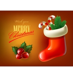 red christmas stocking vector image vector image