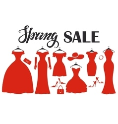 Red party dresses SilhouetteFashion saleSpring vector image vector image