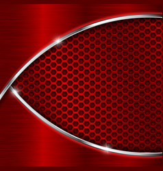 Red perforated background with metal waves vector