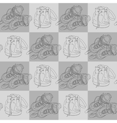 Seamless pattern with roller skates and bags vector