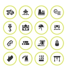 Set round icons of metallurgy vector