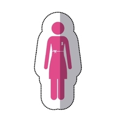 Sticker silhouette pink woman with ribbon of vector
