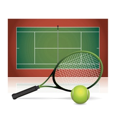 Tennis court ball and racket vector
