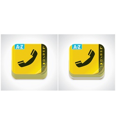 yellow phone book icon vector image vector image
