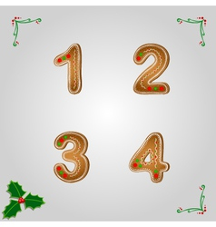 Gingerbread numbers 1 to 4 vector image
