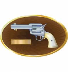 gun on plaque vector image