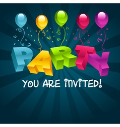 Colorful Party Invitation Card vector image