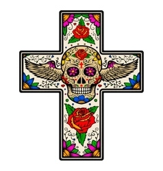 Cross with winged sugar skull isolated on white vector