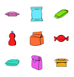 Different package icons set cartoon style vector