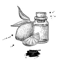 Lemon essential oil bottle and lemon fruit hand vector