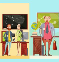 Teachers vertical retro banners vector