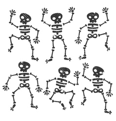 Grunge dancing skeletons vector