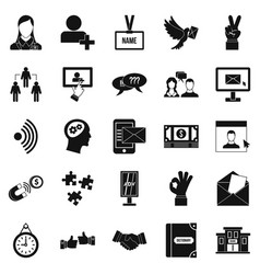 talk icons set simple style vector image