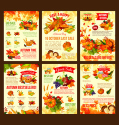 Thanksgiving autumn discount sale posters vector