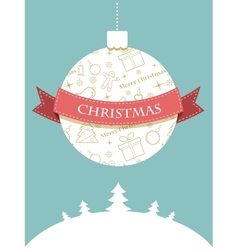 Christmas ball with seasonal objects pattern vector