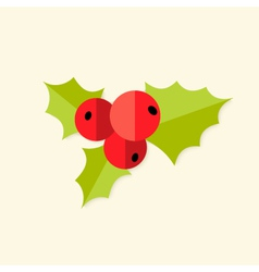Rowan berry christmas flat icon vector