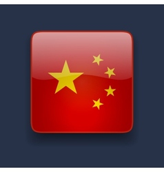 Square icon with flag of china vector