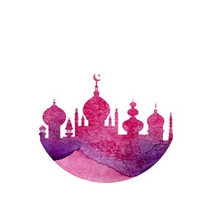 Watercolor mosque vector