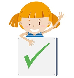 Little girl with correction sign vector