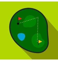 Golf course flat icon vector