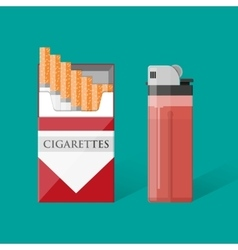 Cigarette pack with cigarettes and lighter vector