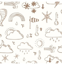 Seamless pattern doodle sketch weather icons vector