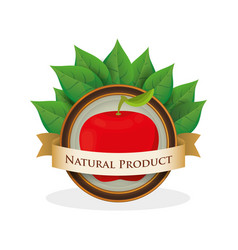 Apple natural product label vector
