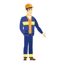 asian builder with hand in his pocket vector image vector image