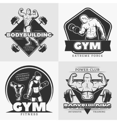 Body building emblem set vector