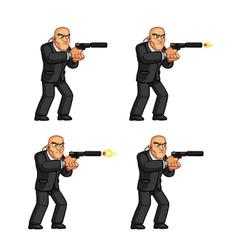 Body guard pistol shooting animation sprite vector