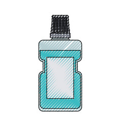 bottle of mouthwash colored crayon silhouette vector image