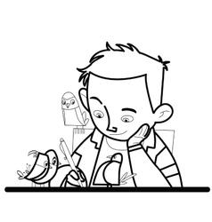 Boy writes bird watching vector image vector image