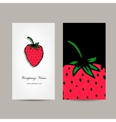 Business card template strawberry design vector image vector image