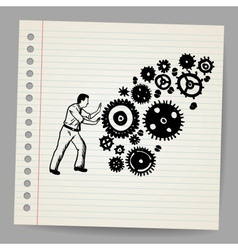 Business man pushing a cogwheel doodle concept vector