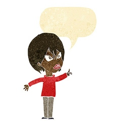 Cartoon woman arguing with speech bubble vector